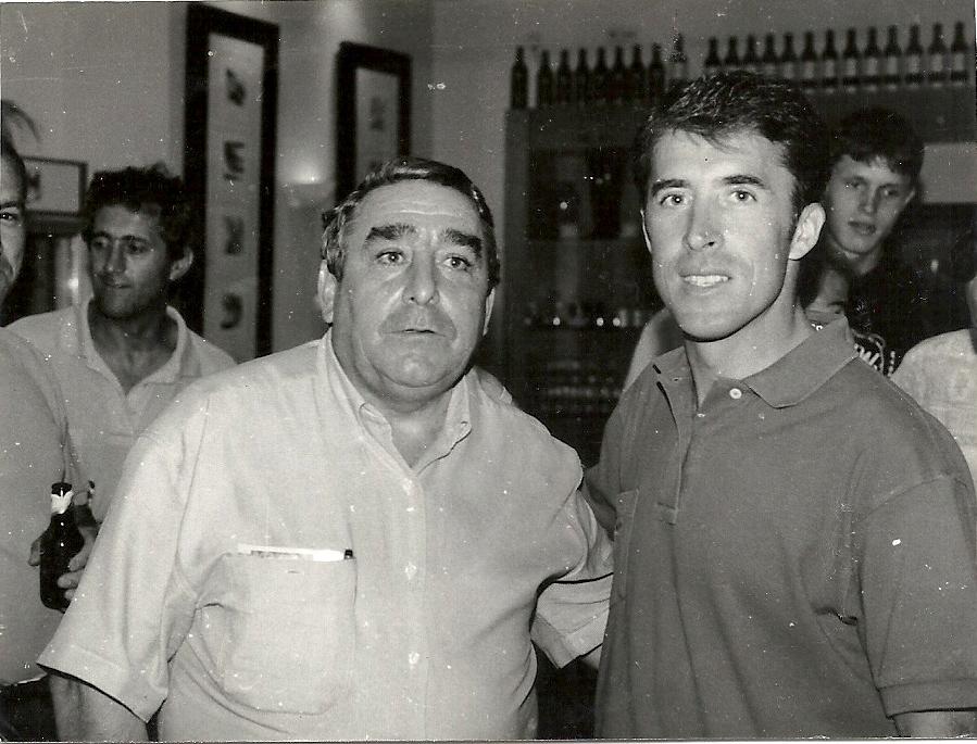 Don Eugenio Cuerdo con Pedro Delgado